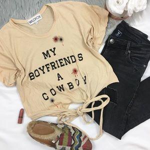 Wildfox ✨ My Boyfriends A Cowboy Tie Front T-Shirt